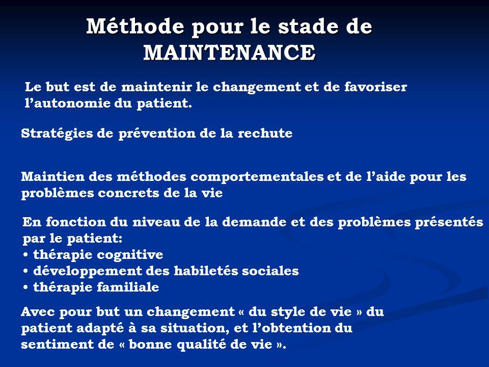 Méthode pour le stade de MAINTENANCE Le but est de maintenir le changement et de favoriser lautonomie du patient.