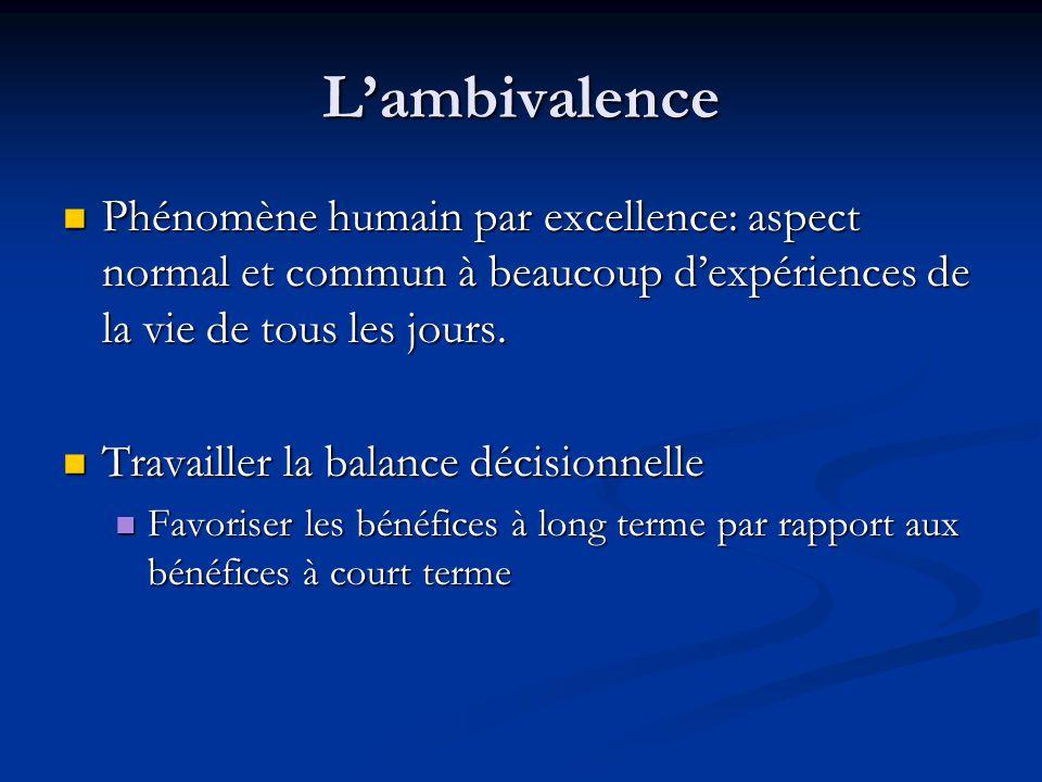 Lambivalence Phénomène humain par excellence: aspect normal et commun à beaucoup dexpériences de la vie de tous les jours. Phénomène humain par excell