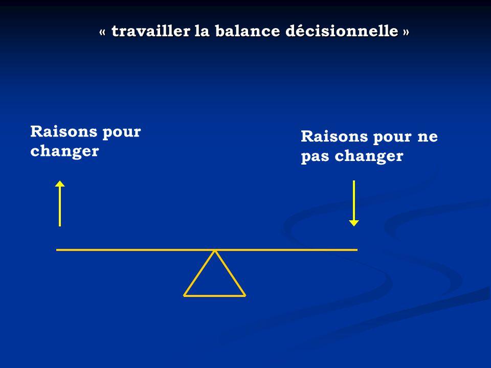 « travailler la balance décisionnelle » « travailler la balance décisionnelle » Raisons pour changer Raisons pour ne pas changer