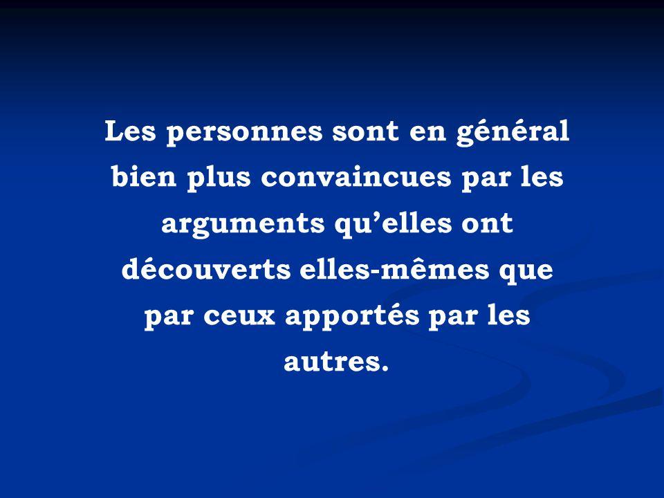 Les personnes sont en général bien plus convaincues par les arguments quelles ont découverts elles-mêmes que par ceux apportés par les autres.
