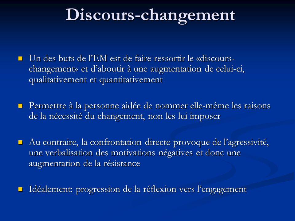 Discours-changement Un des buts de lEM est de faire ressortir le «discours- changement» et daboutir à une augmentation de celui-ci, qualitativement et