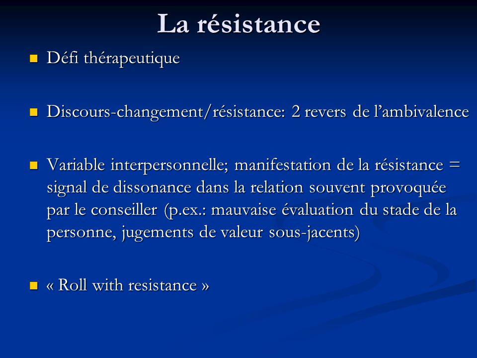 La résistance Défi thérapeutique Défi thérapeutique Discours-changement/résistance: 2 revers de lambivalence Discours-changement/résistance: 2 revers