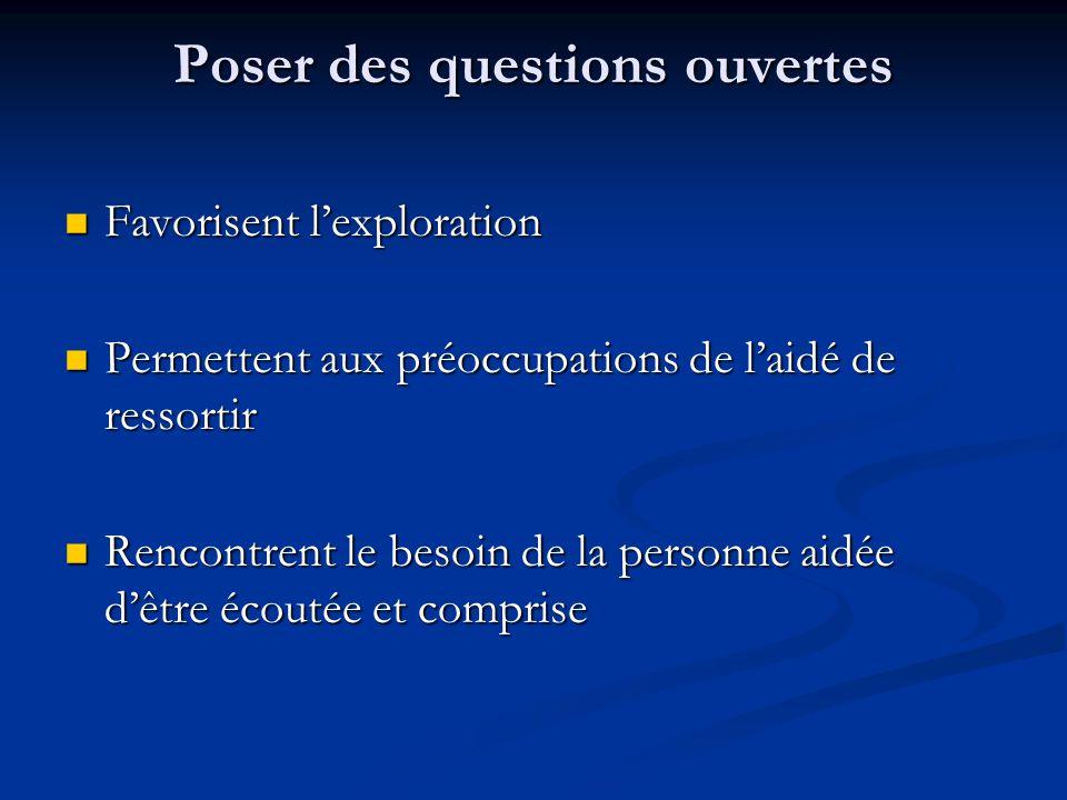Poser des questions ouvertes Favorisent lexploration Favorisent lexploration Permettent aux préoccupations de laidé de ressortir Permettent aux préocc