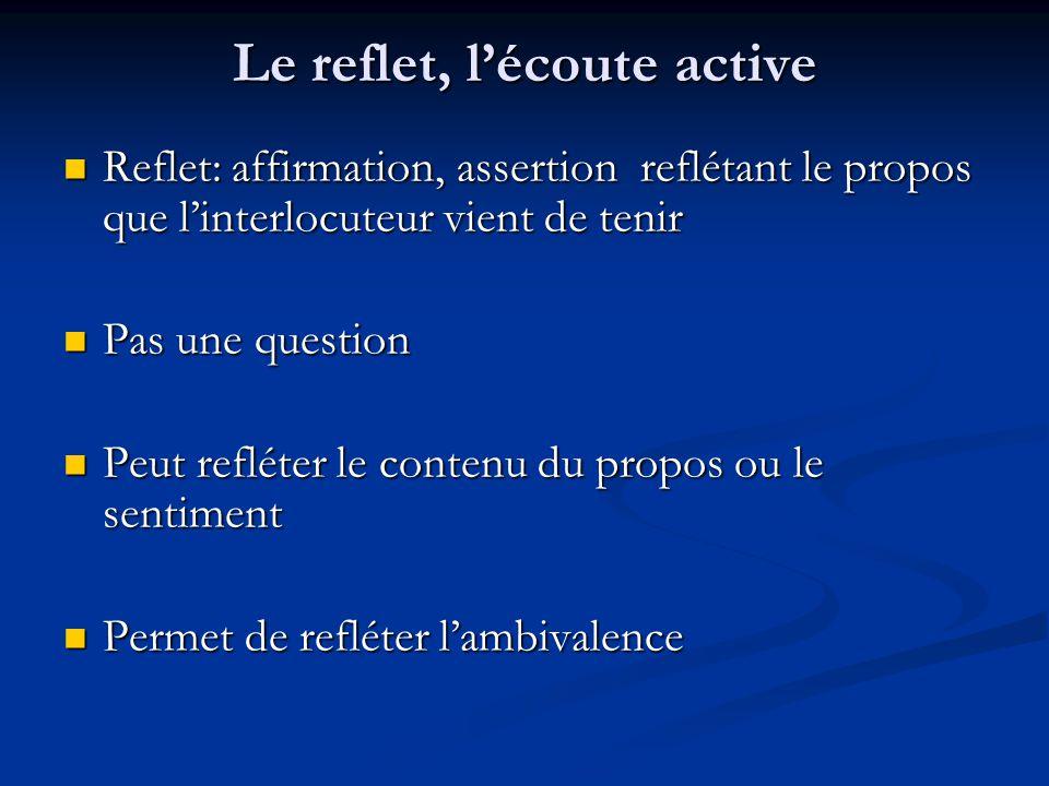 Le reflet, lécoute active Reflet: affirmation, assertion reflétant le propos que linterlocuteur vient de tenir Reflet: affirmation, assertion reflétan