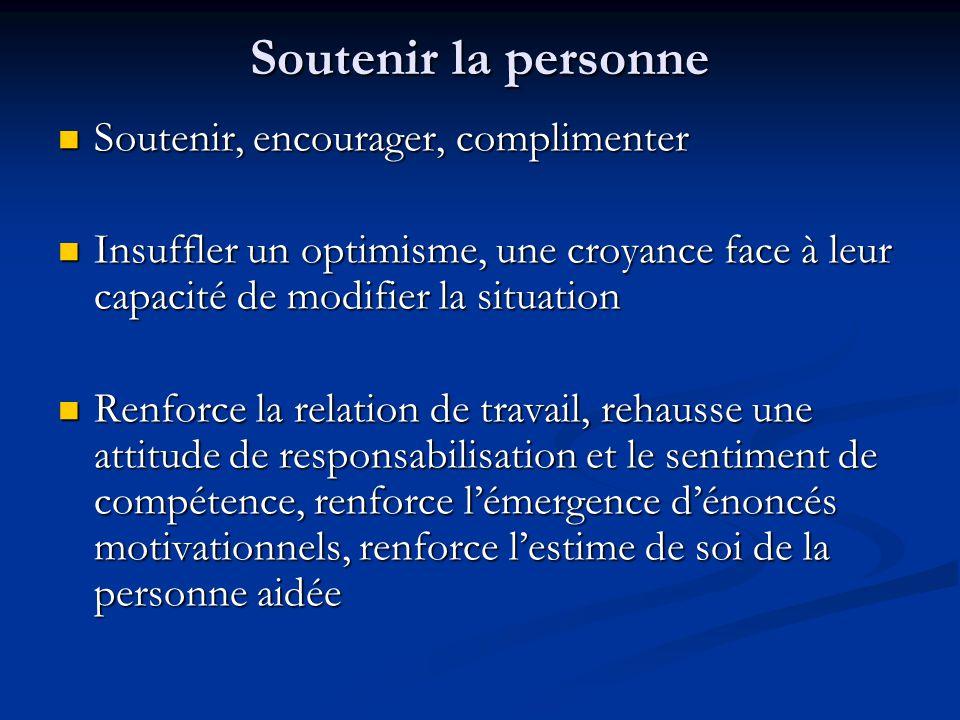 Soutenir la personne Soutenir, encourager, complimenter Soutenir, encourager, complimenter Insuffler un optimisme, une croyance face à leur capacité d