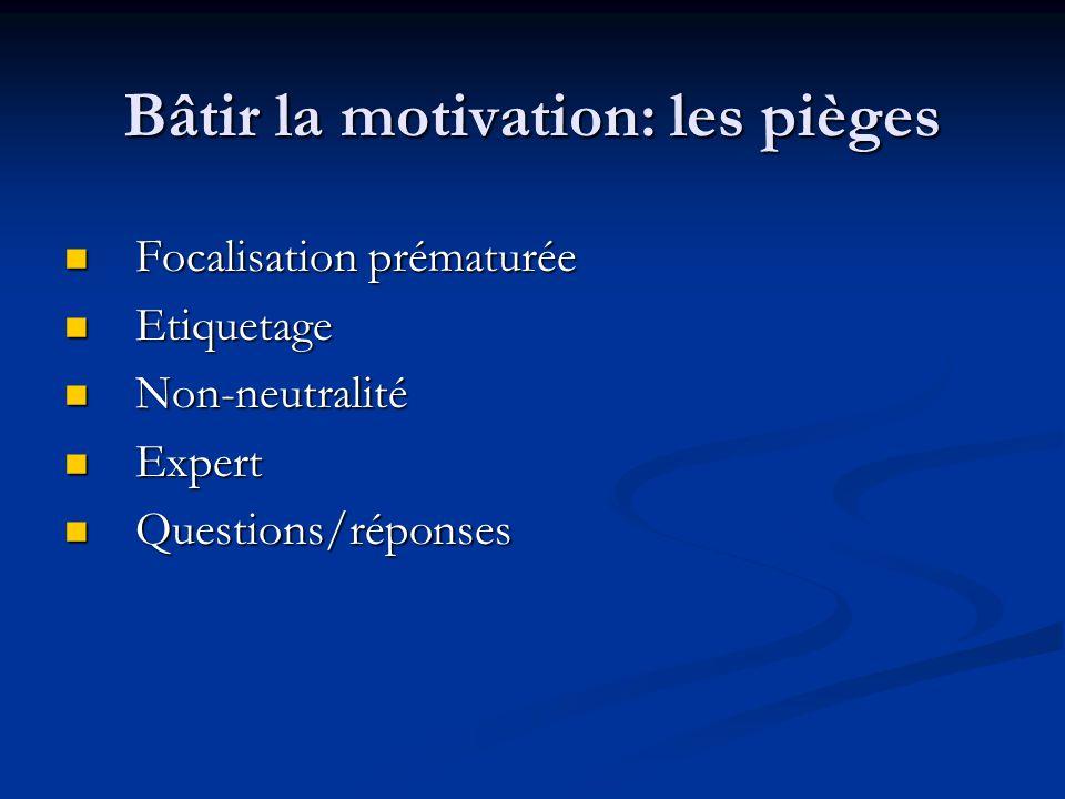 Bâtir la motivation: les pièges Focalisation prématurée Focalisation prématurée Etiquetage Etiquetage Non-neutralité Non-neutralité Expert Expert Ques