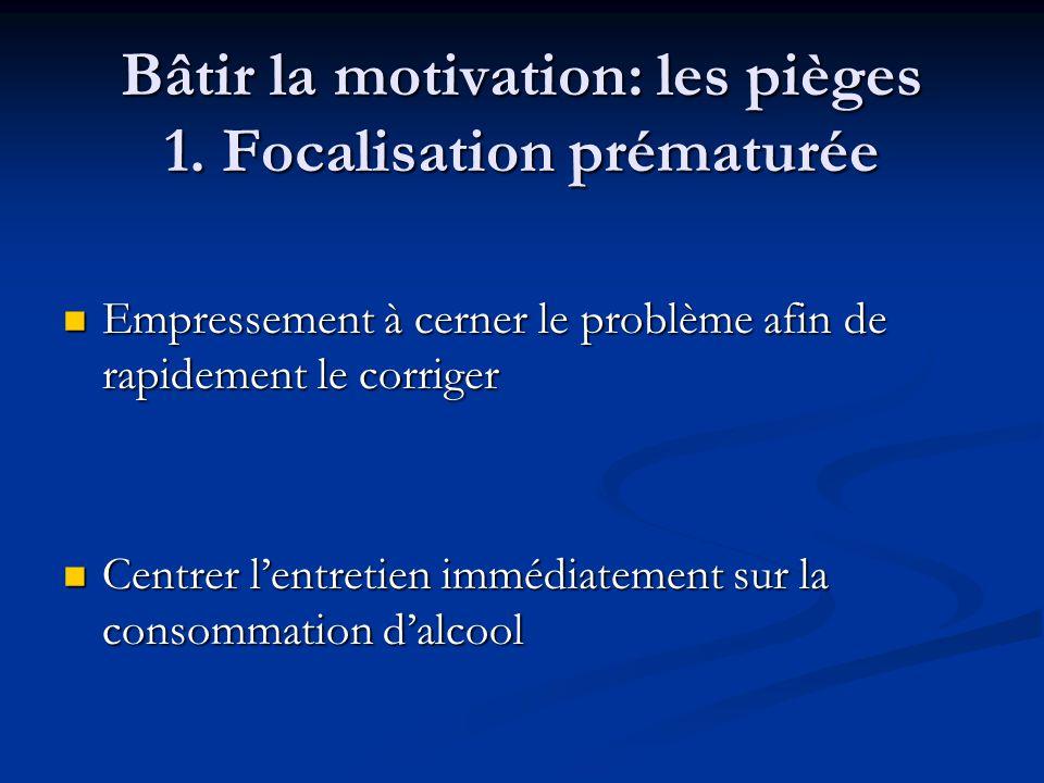 Bâtir la motivation: les pièges 1. Focalisation prématurée Empressement à cerner le problème afin de rapidement le corriger Empressement à cerner le p