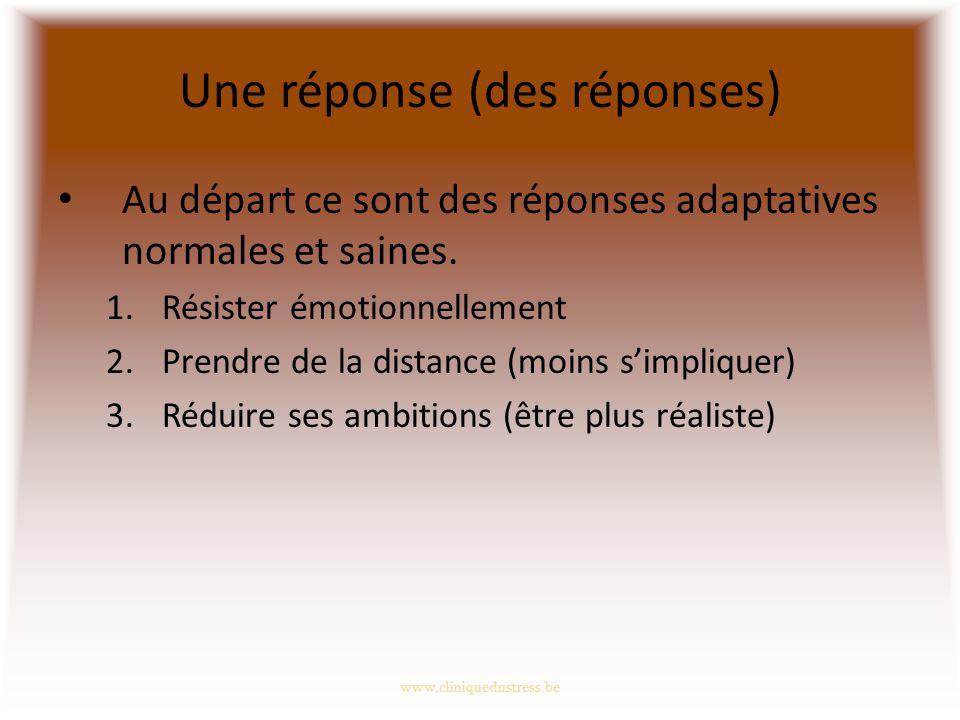 Une réponse (des réponses) Au départ ce sont des réponses adaptatives normales et saines.