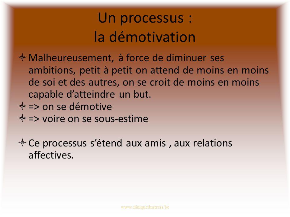 Un processus : la démotivation Malheureusement, à force de diminuer ses ambitions, petit à petit on attend de moins en moins de soi et des autres, on se croit de moins en moins capable datteindre un but.