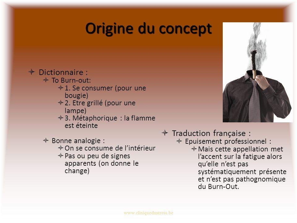 Origine du concept Dictionnaire : To Burn-out: 1.Se consumer (pour une bougie) 2.