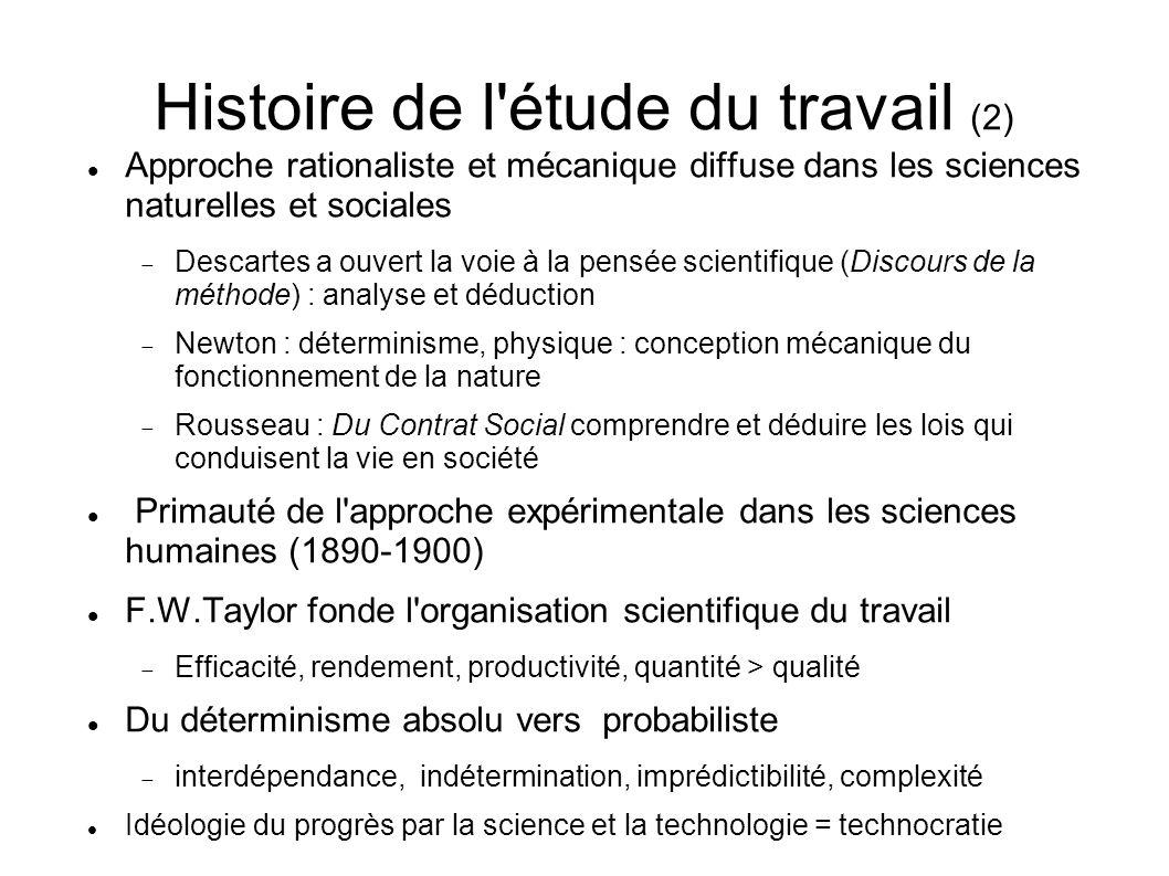 Histoire de l'étude du travail (2) Approche rationaliste et mécanique diffuse dans les sciences naturelles et sociales Descartes a ouvert la voie à la
