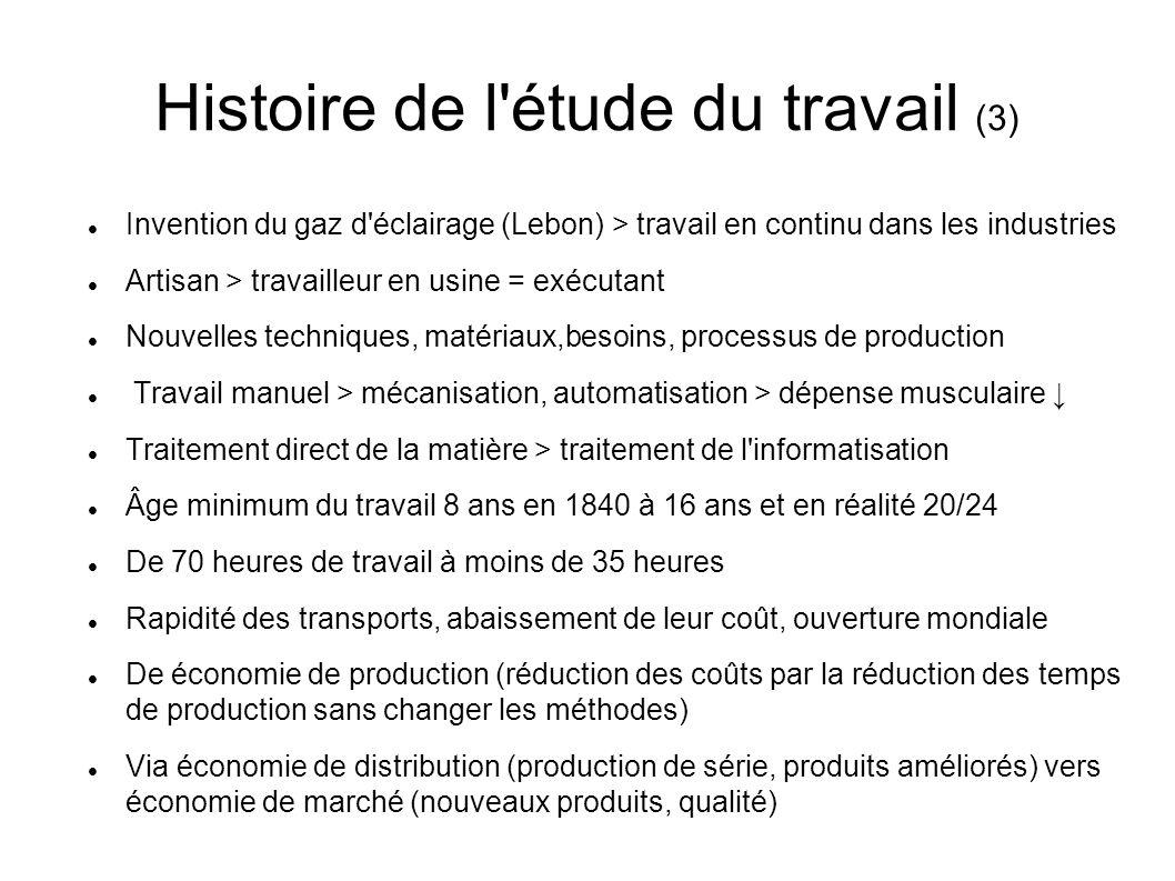 Histoire de l'étude du travail (3) Invention du gaz d'éclairage (Lebon) > travail en continu dans les industries Artisan > travailleur en usine = exéc