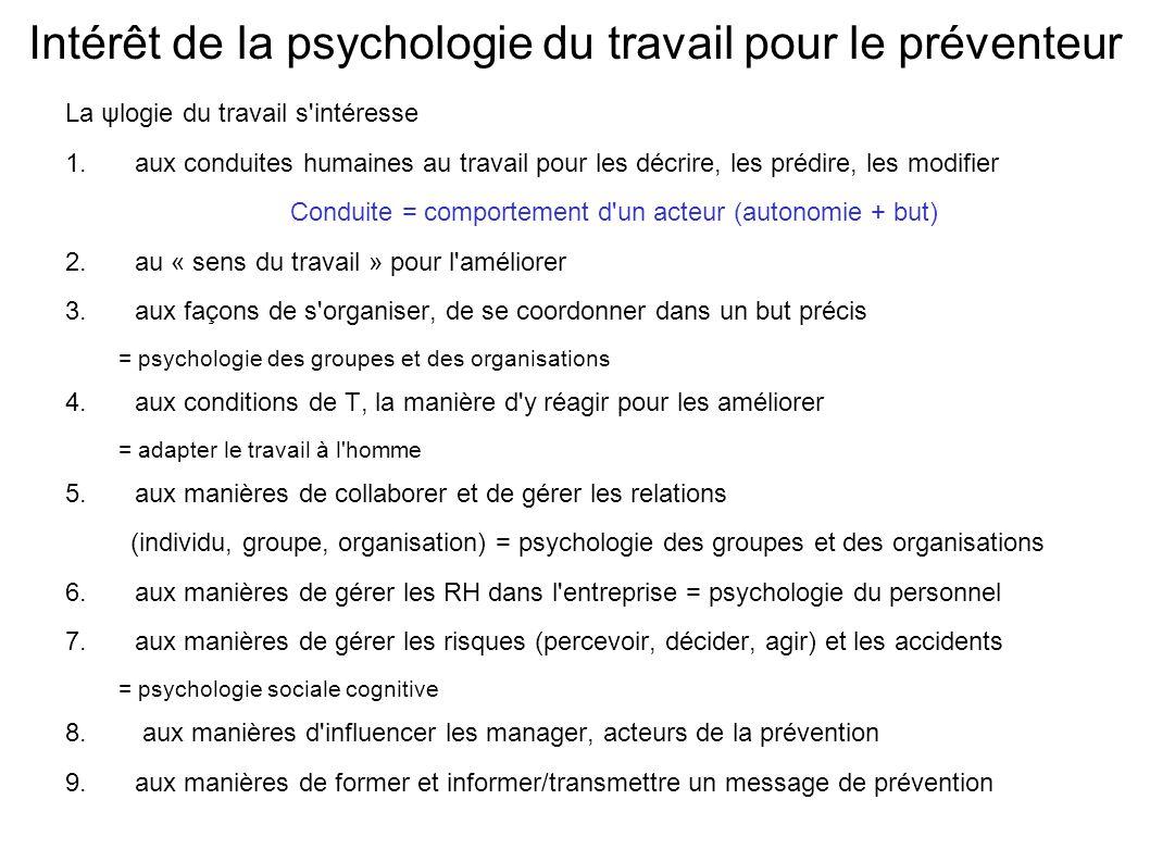 Intérêt de la psychologie du travail pour le préventeur La ψlogie du travail s'intéresse 1.aux conduites humaines au travail pour les décrire, les pré