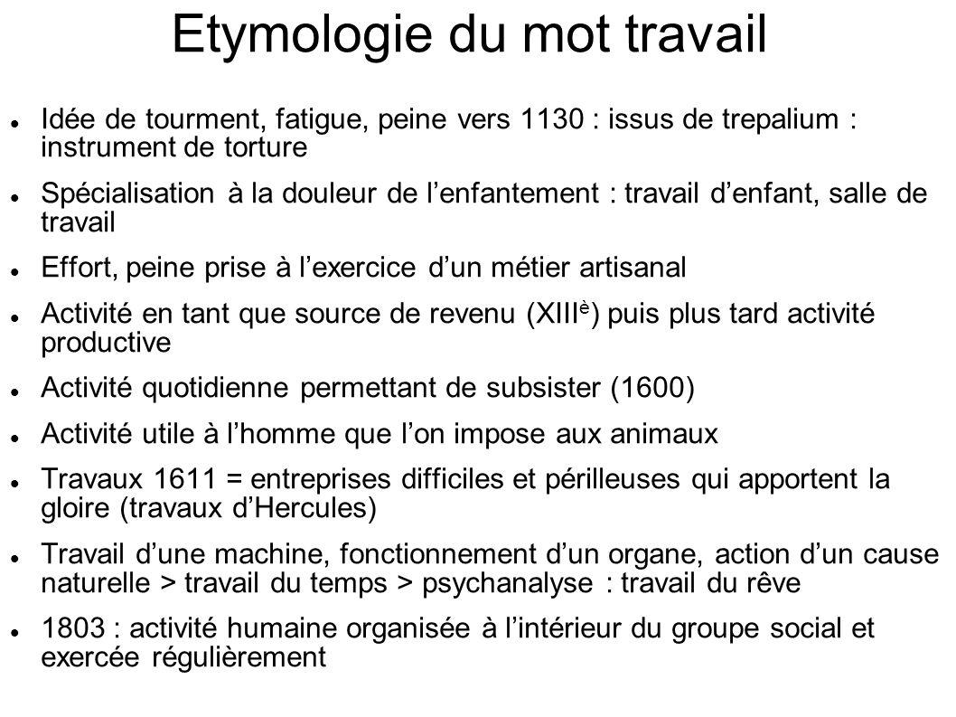 Etymologie du mot travail Idée de tourment, fatigue, peine vers 1130 : issus de trepalium : instrument de torture Spécialisation à la douleur de lenfa