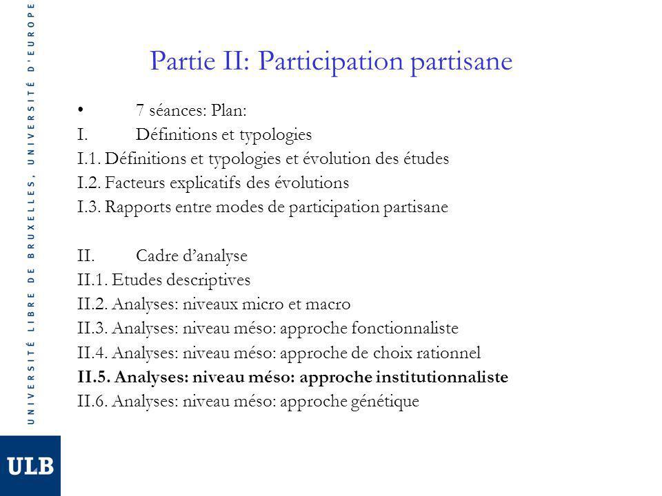Partie II: Participation partisane 7 séances: Plan: I.Définitions et typologies I.1. Définitions et typologies et évolution des études I.2. Facteurs e