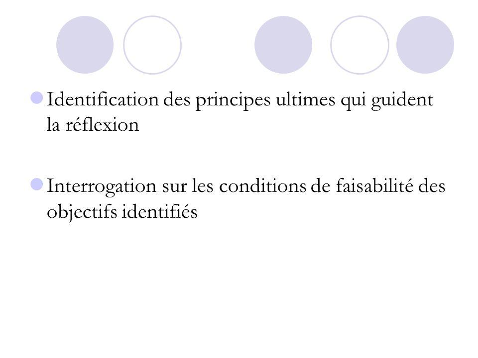 Identification des principes ultimes qui guident la réflexion Interrogation sur les conditions de faisabilité des objectifs identifiés