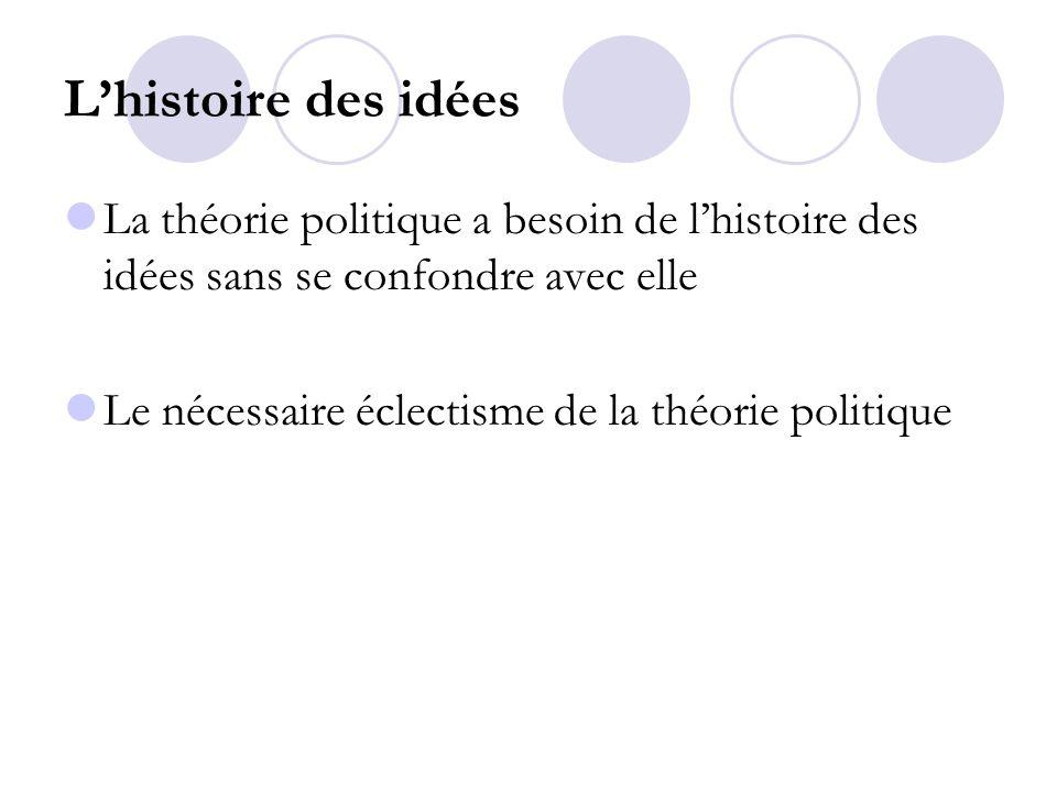 Lhistoire des idées La théorie politique a besoin de lhistoire des idées sans se confondre avec elle Le nécessaire éclectisme de la théorie politique