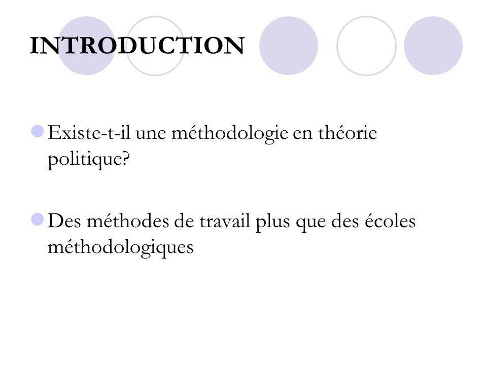 INTRODUCTION Existe-t-il une méthodologie en théorie politique? Des méthodes de travail plus que des écoles méthodologiques