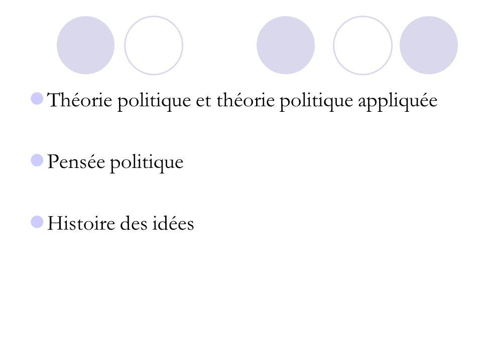 Théorie politique et théorie politique appliquée Pensée politique Histoire des idées
