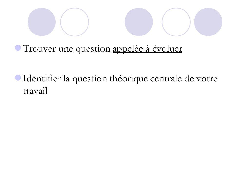 Trouver une question appelée à évoluer Identifier la question théorique centrale de votre travail
