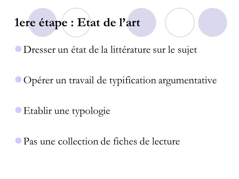 1ere étape : Etat de lart Dresser un état de la littérature sur le sujet Opérer un travail de typification argumentative Etablir une typologie Pas une