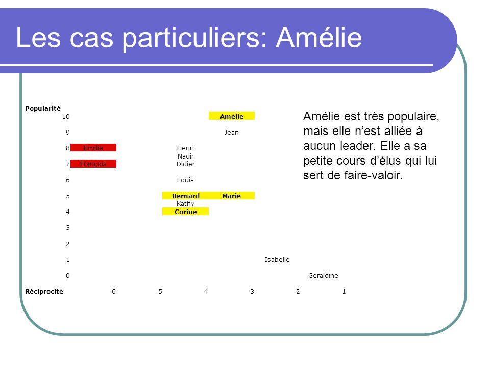 Les cas particuliers: Amélie Popularité 10Amélie 9Jean 8EmilieHenri Nadir 7FrançoisDidier 6Louis 5BernardMarie Kathy 4Corine 3 2 1Isabelle 0Geraldine Réciprocité654321 Amélie est très populaire, mais elle nest alliée à aucun leader.