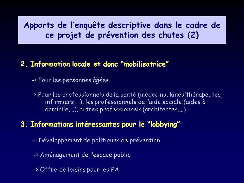 Apports de lenquête descriptive dans le cadre de ce projet de prévention des chutes (2) 2. Information locale et donc mobilisatrice -> Pour les person