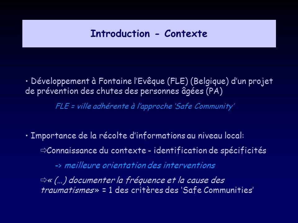 Introduction - Contexte Développement à Fontaine lEvêque (FLE) (Belgique) dun projet de prévention des chutes des personnes âgées (PA) FLE = ville adh