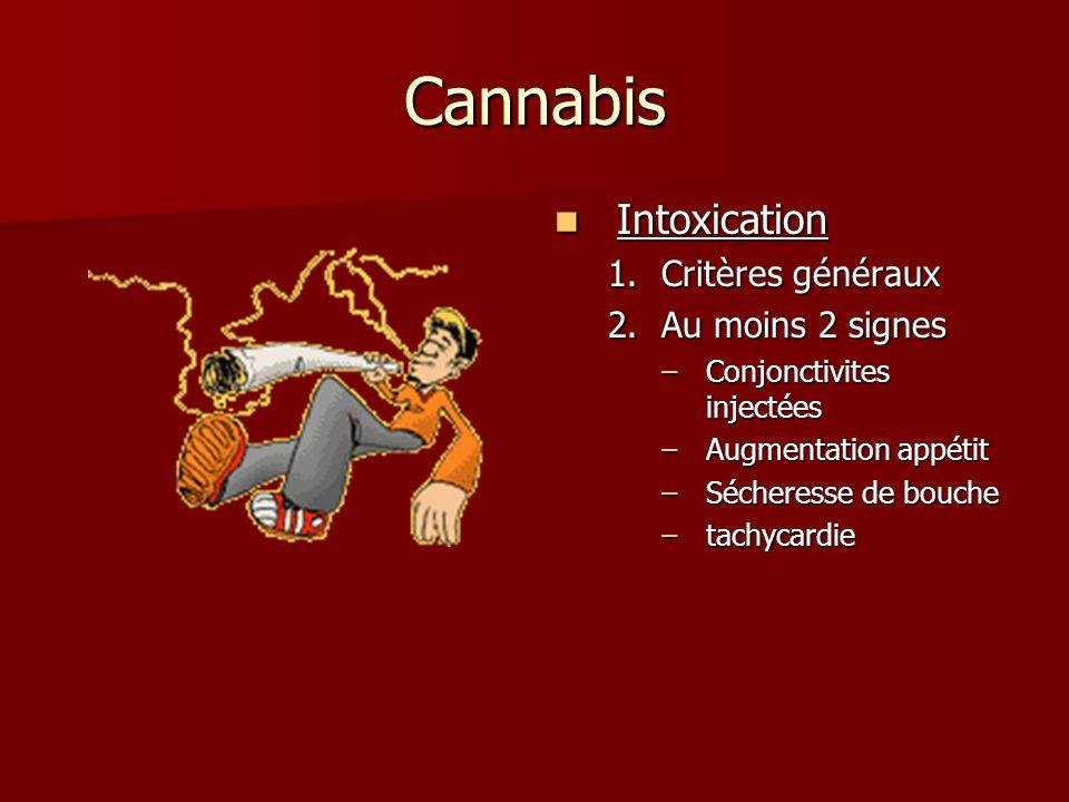 Cannabis Intoxication Intoxication 1.Critères généraux 2.Au moins 2 signes –Conjonctivites injectées –Augmentation appétit –Sécheresse de bouche –tachycardie