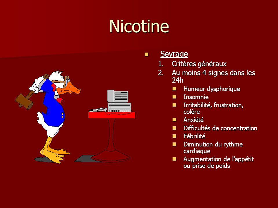 Nicotine Sevrage Sevrage 1.Critères généraux 2.Au moins 4 signes dans les 24h Humeur dysphorique Insomnie Irritabilité, frustration, colère Anxiété Difficultés de concentration Fébrilité Diminution du rythme cardiaque Augmentation de lappétit ou prise de poids