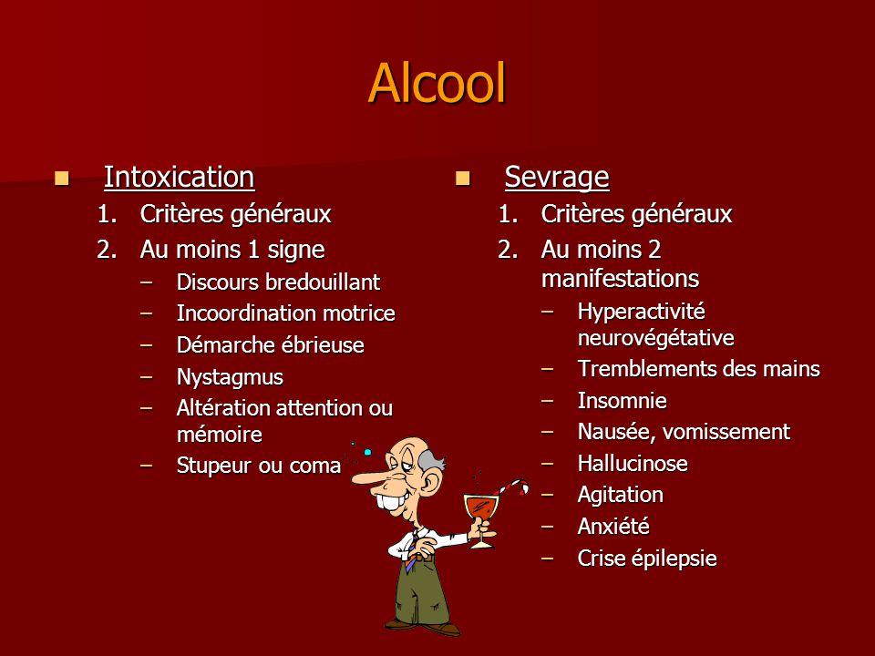 Plan général 1.Critères généraux des troubles liés à une substance 2.