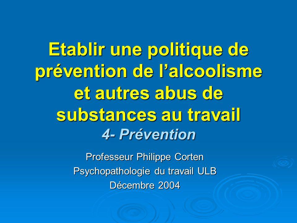 Etablir une politique de prévention de lalcoolisme et autres abus de substances au travail 4- Prévention Professeur Philippe Corten Psychopathologie d