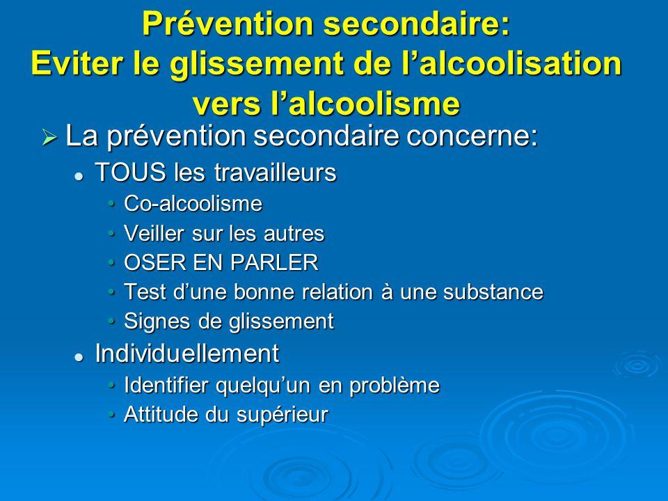 Prévention secondaire: Eviter le glissement de lalcoolisation vers lalcoolisme La prévention secondaire concerne: La prévention secondaire concerne: T