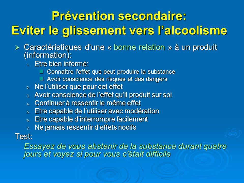 Prévention secondaire: Eviter le glissement vers lalcoolisme Caractéristiques dune « bonne relation » à un produit (information): Caractéristiques dun