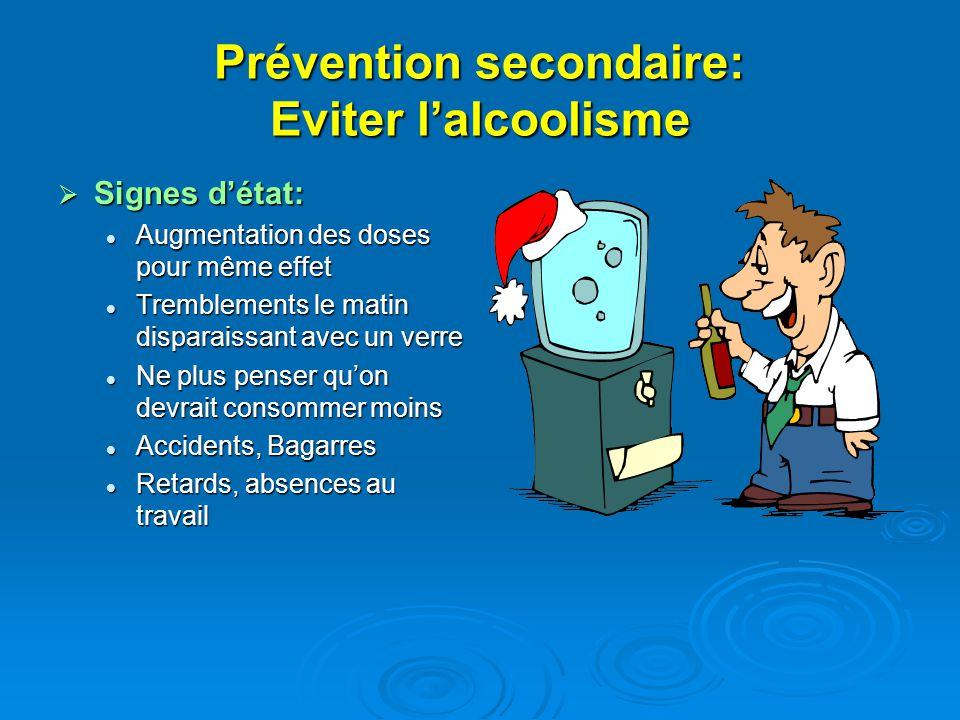 Prévention secondaire: Eviter lalcoolisme Signes détat: Signes détat: Augmentation des doses pour même effet Augmentation des doses pour même effet Tr