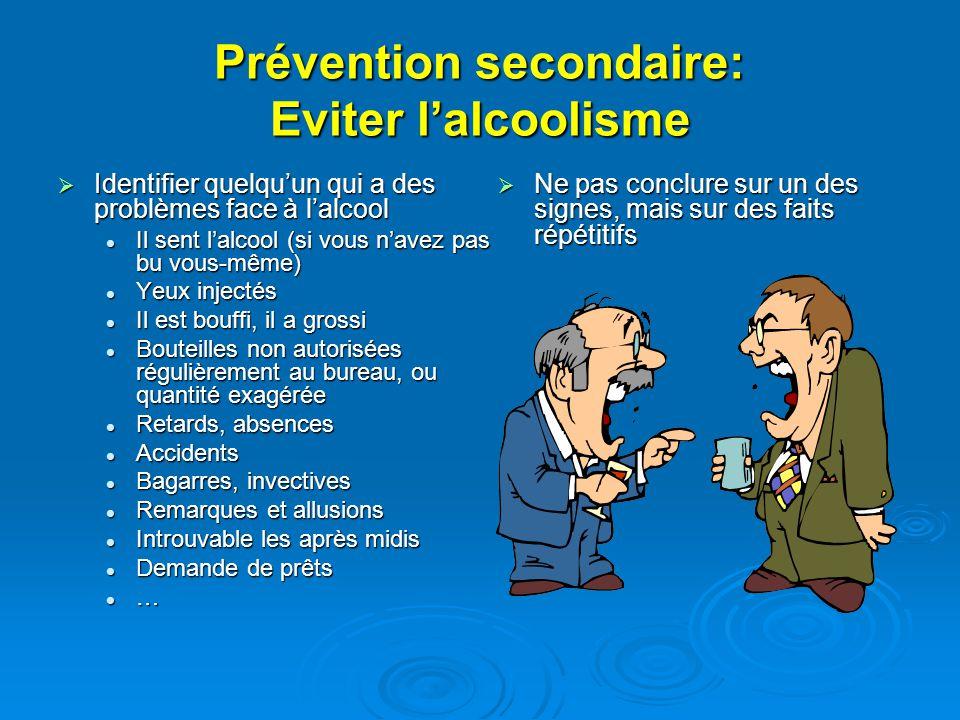 Prévention secondaire: Eviter lalcoolisme Identifier quelquun qui a des problèmes face à lalcool Identifier quelquun qui a des problèmes face à lalcoo
