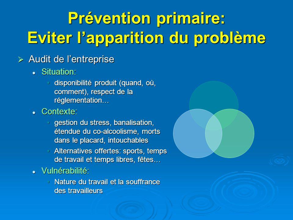 Prévention primaire: Eviter lapparition du problème Audit de lentreprise Audit de lentreprise Situation: Situation: disponibilité produit (quand, où,