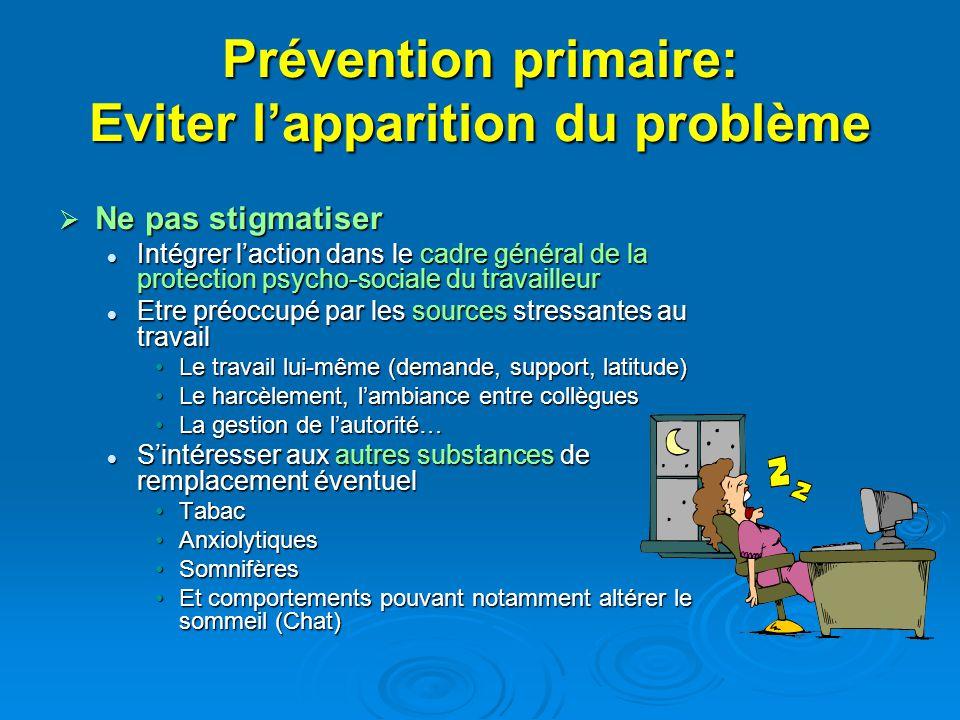 Prévention primaire: Eviter lapparition du problème Ne pas stigmatiser Ne pas stigmatiser Intégrer laction dans le cadre général de la protection psyc