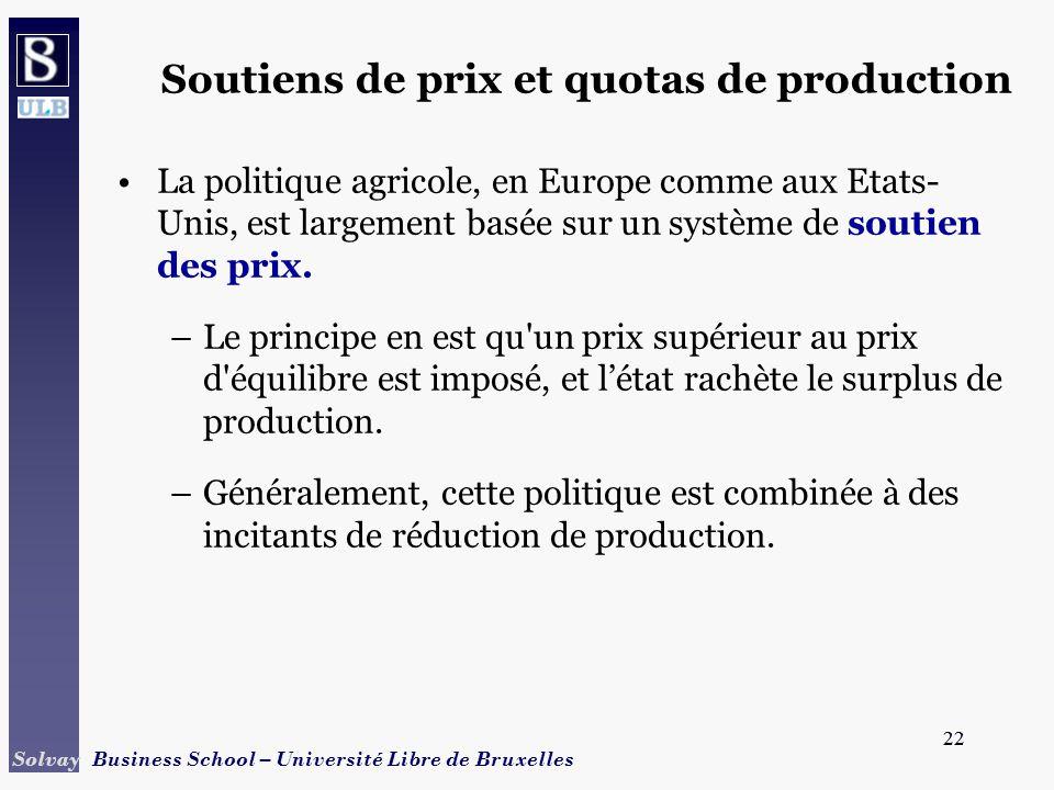 22 Solvay Business School – Université Libre de Bruxelles 22 Soutiens de prix et quotas de production La politique agricole, en Europe comme aux Etats- Unis, est largement basée sur un système de soutien des prix.