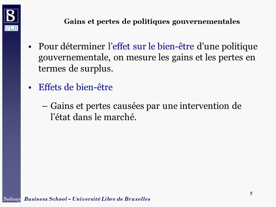 26 Solvay Business School – Université Libre de Bruxelles 26 Quotas de production –Le gouvernement provoque ici une hausse des prix par la réduction de loffre.