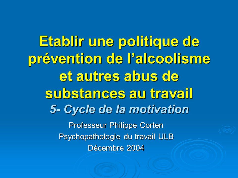 Etablir une politique de prévention de lalcoolisme et autres abus de substances au travail 5- Cycle de la motivation Professeur Philippe Corten Psycho