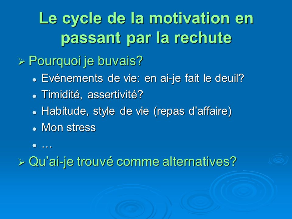 Le cycle de la motivation en passant par la rechute Laprès sevrage: Laprès sevrage: Jai connu durant de longues années le schéma ci-dessous.