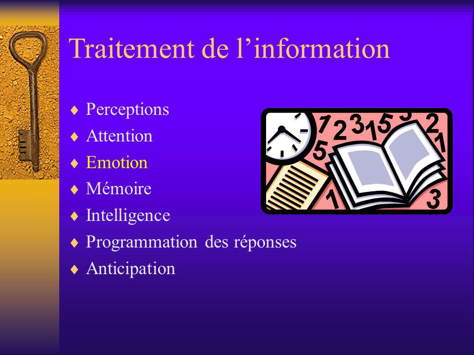 Traitement de linformation Perceptions Attention Emotion Mémoire Intelligence Programmation des réponses Anticipation