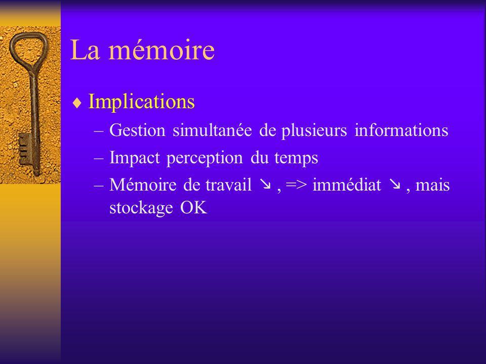La mémoire Implications –Gestion simultanée de plusieurs informations –Impact perception du temps –Mémoire de travail, => immédiat, mais stockage OK