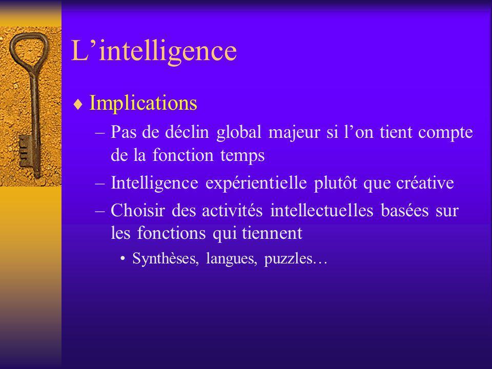 Lintelligence Implications –Pas de déclin global majeur si lon tient compte de la fonction temps –Intelligence expérientielle plutôt que créative –Cho
