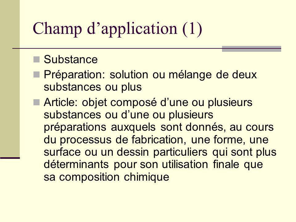 Champ dapplication (1) Substance Préparation: solution ou mélange de deux substances ou plus Article: objet composé dune ou plusieurs substances ou du