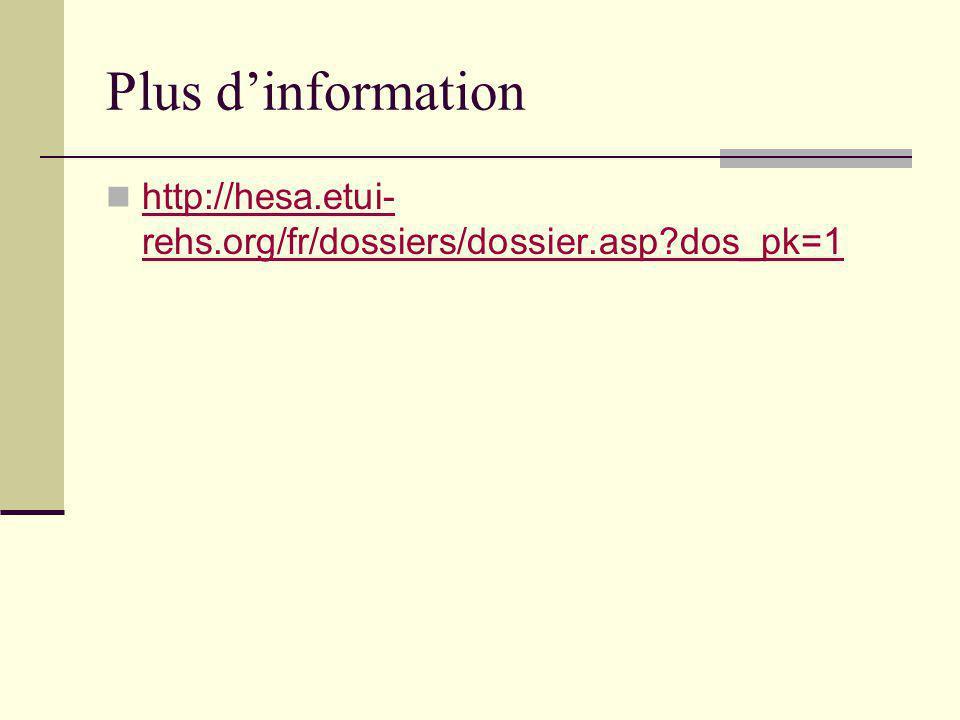 Plus dinformation http://hesa.etui- rehs.org/fr/dossiers/dossier.asp?dos_pk=1 http://hesa.etui- rehs.org/fr/dossiers/dossier.asp?dos_pk=1