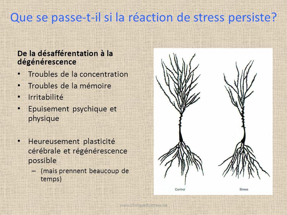 De la désafférentation à la dégénérescence Troubles de la concentration Troubles de la mémoire Irritabilité Epuisement psychique et physique Heureusem