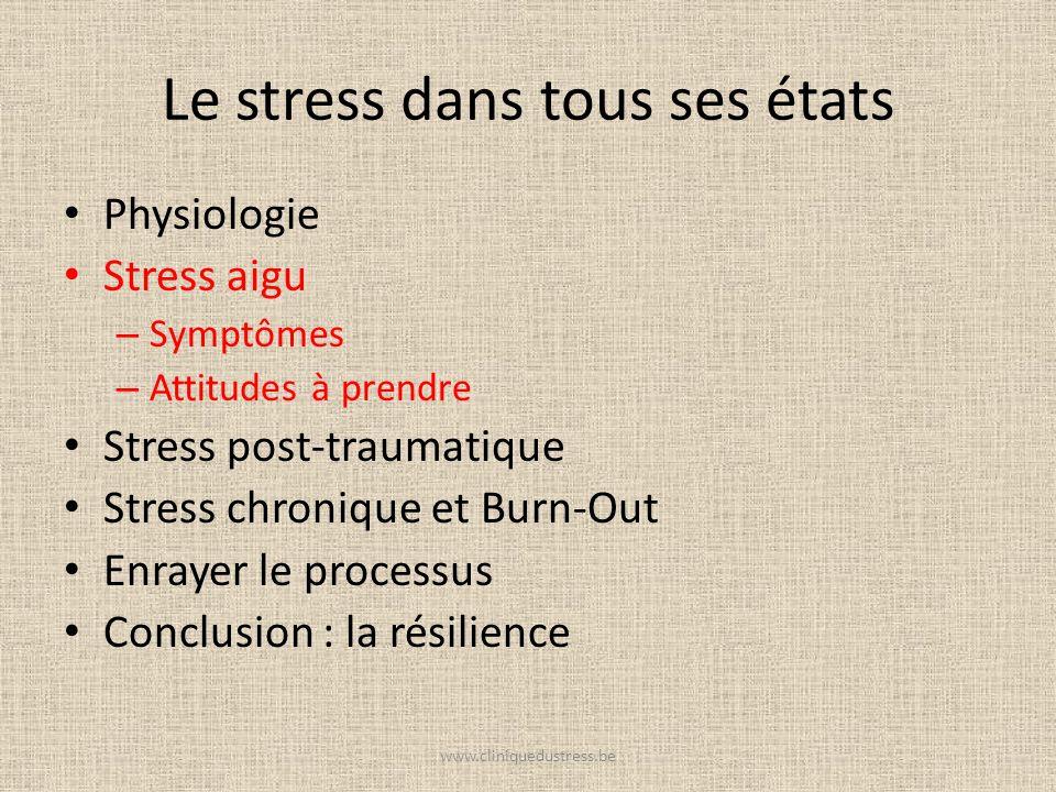 Le stress dans tous ses états Physiologie Stress aigu – Symptômes – Attitudes à prendre Stress post-traumatique Stress chronique et Burn-Out Enrayer l