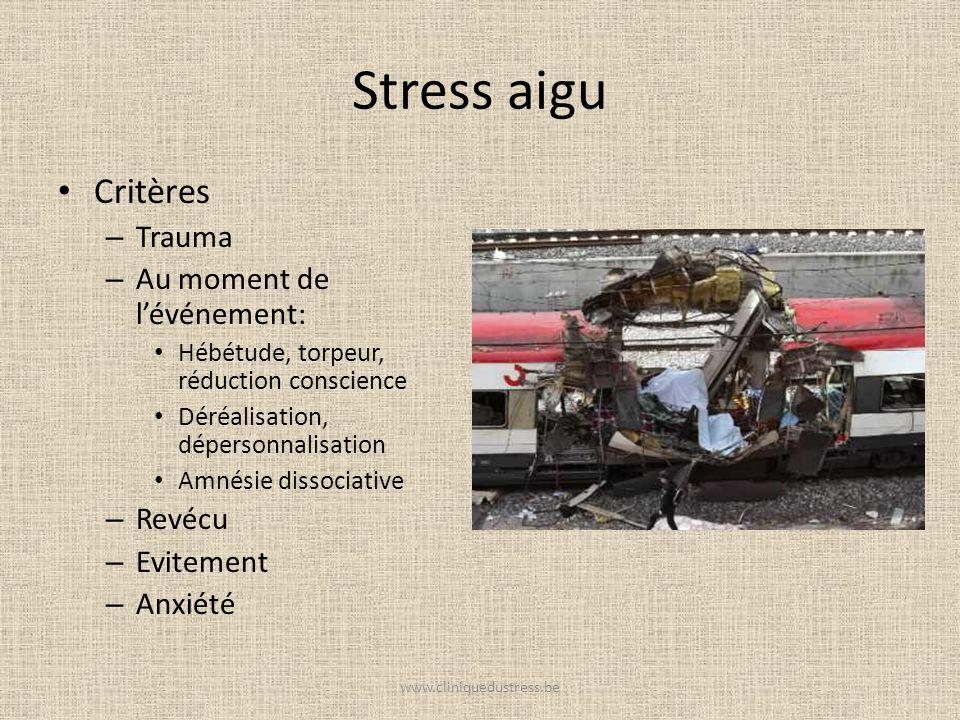 Stress aigu Critères – Trauma – Au moment de lévénement: Hébétude, torpeur, réduction conscience Déréalisation, dépersonnalisation Amnésie dissociativ
